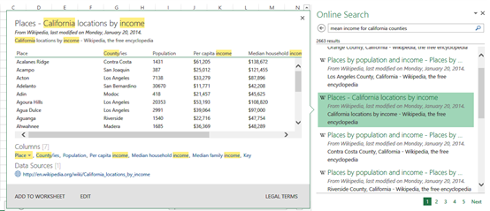 Example of data from Power Query with table and online search