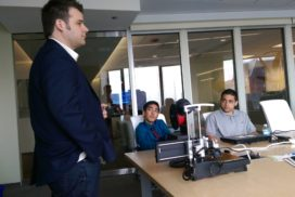 SPR Chief Technology Officer Matt Mead opens Job Shadow Day for students from CICS Northtown Academy