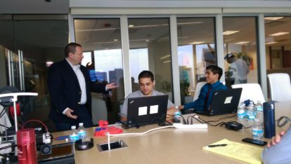 Chris Kabat, SPR VP of Enterprise Platforms and Managed Services, with students from CICS Northtown at SPR Job Shadow Day