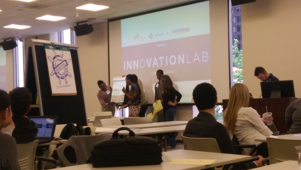 Presenting to the judges at the UCP Smart Chicago Innovation Lab