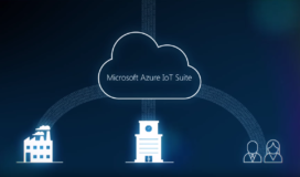 Graphical concept of Microsoft Azure IoT Suite: Factories, organizations, and people connecting to the cloud.