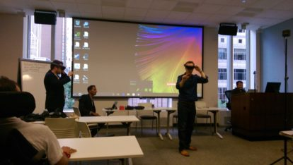Matt Mead and Paul Edlund share a moment in MR courtesy of Microsoft's Hololens.