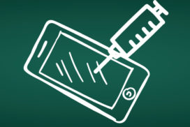 White vector drawing on a green chalkboard of a smart phone being injected with a syringe