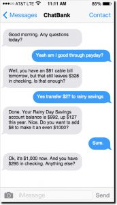 Screenshot of a conversation between a person and a banking api on a smart phone