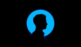 Silhouette of a young man's profile set against a blue circle.