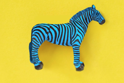 A blue toy zebra
