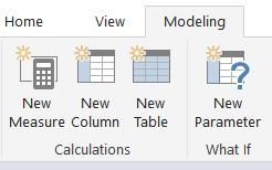 Power BI menu to create a new parameter