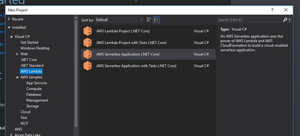 Creating a Serverless AWS lambda webapi with AWS Toolkit
