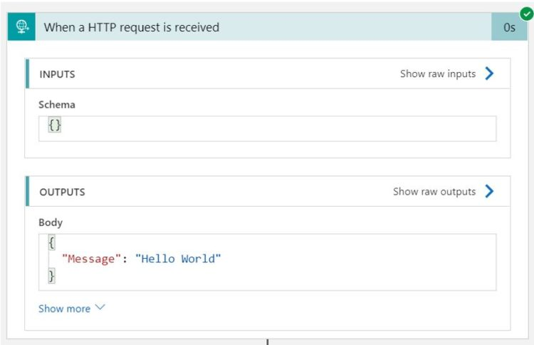 Pic of When a HTTP request is received input and output